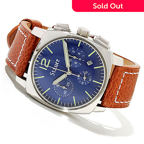 619-964 - Stauer Men's Exemplar Quartz Chronograph Blue Dial Brown Leather Strap Watch