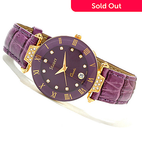 619-966 - Stauer Women's Swiss Quartz Crystal Accented Leather Strap Watch