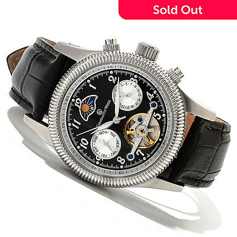 619-967 - Constantin Weisz Men's Automatic Open Heart Leather Strap Watch w/ 10-Slot Watch Box