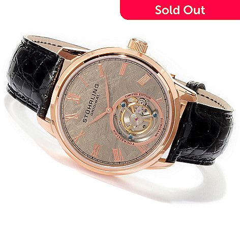 619-971 - Stührling Original Men's Limited Edition Mechanical Tourbillon Meteorite Alligator Strap Watch