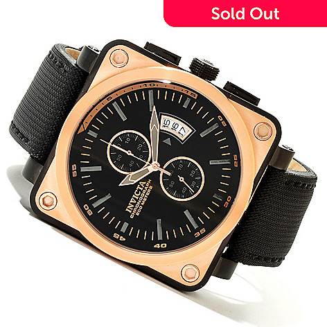 619-976 - Invicta Men's Corduba Quartz Chronograph Square Stainless Steel Leather Strap Watch