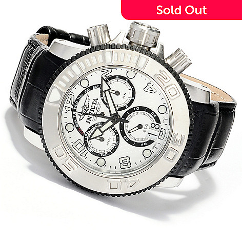 619-980 - Invicta Men's Sea Hunter Elegant Swiss Made Quartz Chronograph Leather Strap Watch