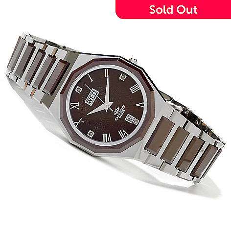 620-001 - Oniss Women's Women's Arte Swiss Quartz Ceramic & Tungsten Bracelet Watch
