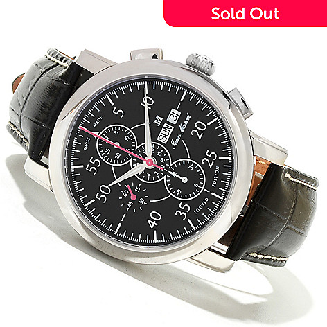 620-019 - Jean Marcel Men's Clarus Limited Edition Swiss Made Automatic Chronograph Leather Strap Watch