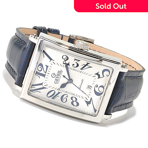 620-090 - Gevril Rectangular Avenue of Americas Limited Edition Swiss Made Automatic Leather Watch