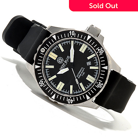 620-093 - Deep Blue Men's T-100 Tritium Military Diver Automatic Stainless Steel Silicone Strap Watch