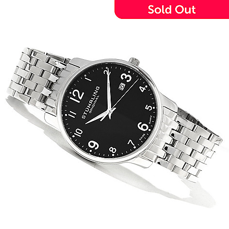620-125 - Stührling Original Men's Churchill Quartz Stainless Steel Bracelet Watch