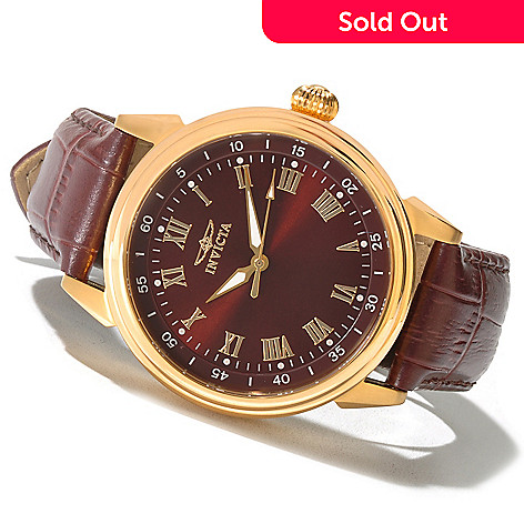 620-140 - Invicta Men's Specialty Classic Quartz Stainless Steel Leather Strap Watch w/ 3-Slot Collector's Box