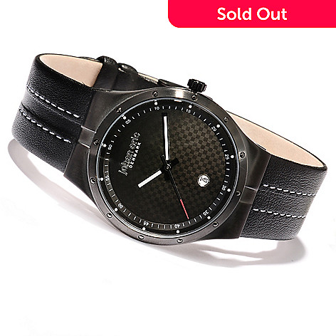 620-158 - Johan Eric Men's Skive Quartz Stainless Steel Leather Strap Watch