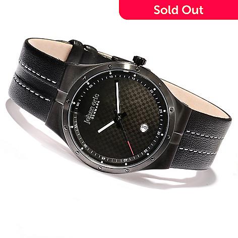 620-158 - Johan Eric Men's Skive Quartz Stainless Steel Leather Strap Watch