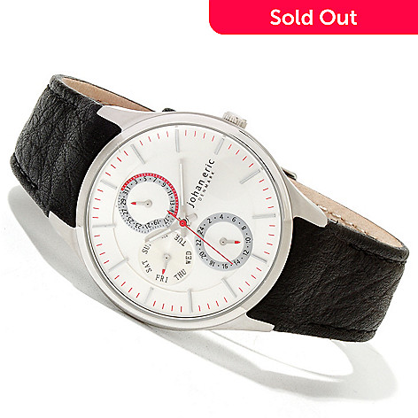 620-160 - Johan Eric Men's Streur Quartz Stainless Steel Leather Strap Watch