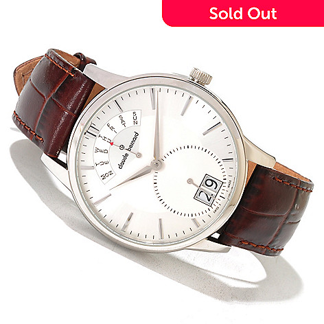 620-163 - Claude Bernard Men's Classic Swiss Made Quartz Leather Strap Watch