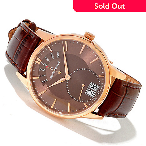 620-165 - Claude Bernard Men's Classic Swiss Made Quartz Leather Strap Watch
