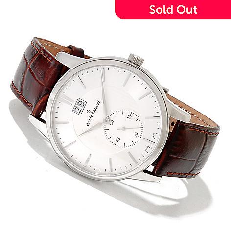 620-167 - Claude Bernard Men's Classic Swiss Made Quartz Leather Strap Watch