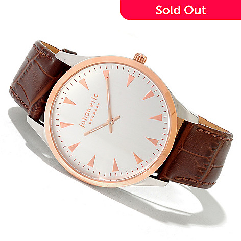 620-169 - Johan Eric Men's Helsingor Quartz Stainless Steel Leather Strap Watch