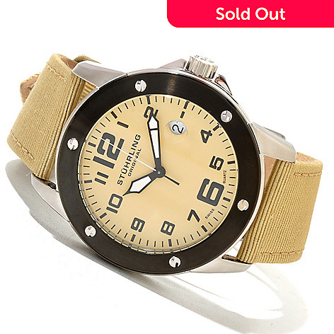 620-172 - Stührling Original Men's Pilot Ace Quartz Canvas Leather Strap Watch