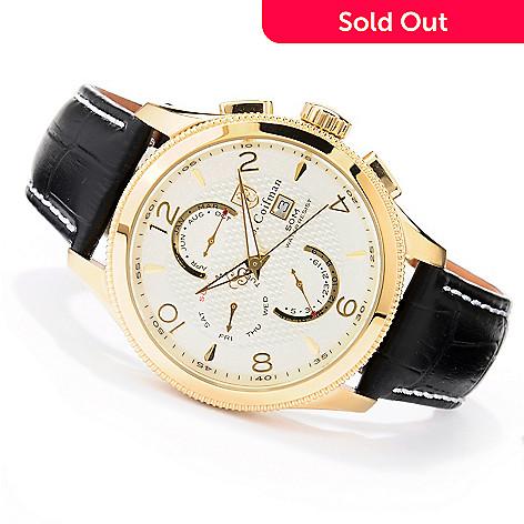 620-181 - S. Coifman Men's Master Calendar Quartz GMT Stainless Steel Leather Strap Watch