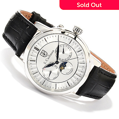 620-185 - S. Coifman Men's Quartz Stainless Steel Case Leather Strap Watch