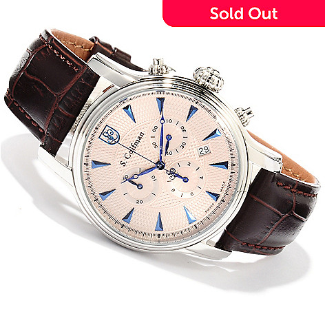 620-186 - S. Coifman 43mm Swiss Made Quartz Chronograph Stainless Steel Case Leather Strap Watch