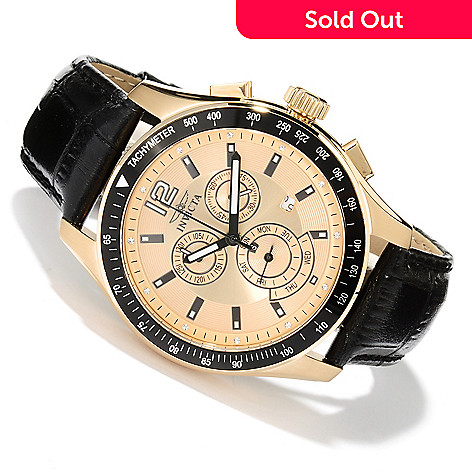 620-267 - Invicta Men's Specialty Quartz Chronograph Leather Strap Watch w/ Three-Slot Collector's Box