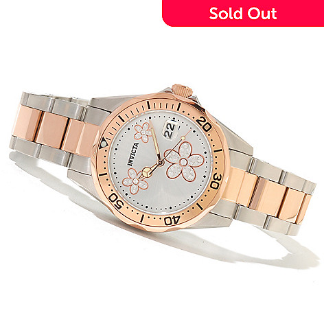620-276 - Invicta Women's Pro Diver Flower Stainless Steel Bracelet Watch w/ Travel Box