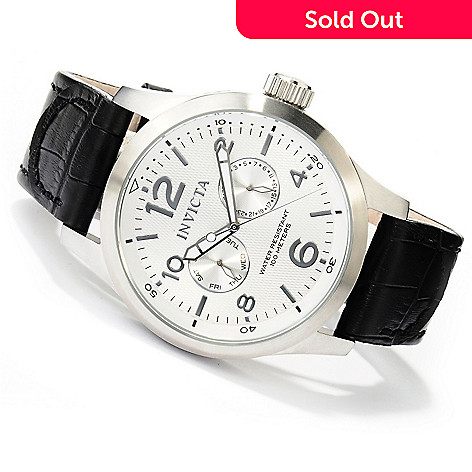 620-278 - Invicta 48mm I Force Quartz Stainless Steel Leather Strap Watch w/ 8-Slot Dive Case