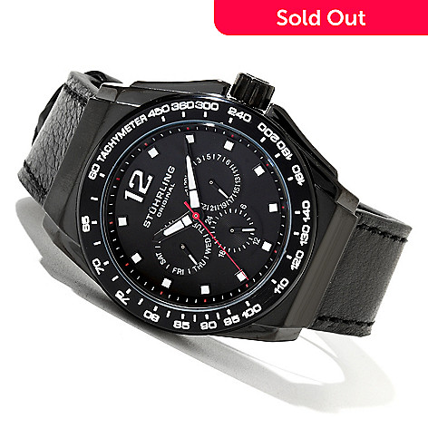 620-282 - Stührling Original Men's Concorso Quartz Multifunction Leather Strap Watch