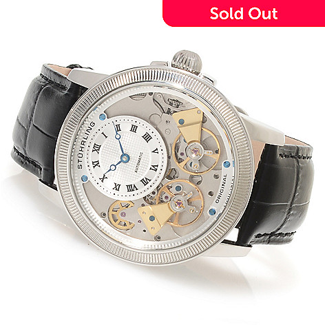 620-284 - Stuhrling Original Men's Gemini II Automatic Skeletonized Dial Leather Strap Watch