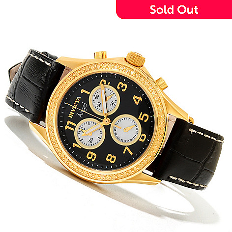 620-330 - Invicta Women's Angel Quartz Chronograph Stainless Steel Leather Strap Watch w/ Three-Slot Watch Box