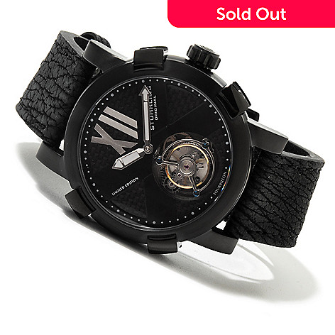 620-357 - Stührling Original Men's Devilray Limited Edition Mechanical Tourbillon Sharkskin Strap Watch