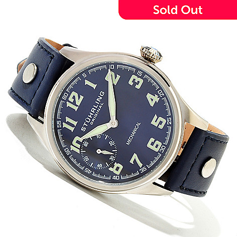 620-374 - Stührling Original Men's Legacy Sport Mechanical Leather Strap Watch