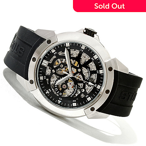 620-377 - Stührling Original Men's Crucible XT Automatic Skeletonized Rubber Strap Watch