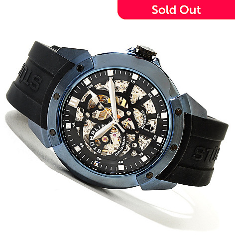 620-378 - Stührling Original Men's Crucible XT Automatic Skeletonized Rubber Strap Watch