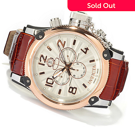 620-401 - Invicta 52mm Russian Diver Elegant Swiss Made Quartz Chronograph Leather Strap Watch