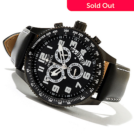 620-404 - Invicta 45mm Specialty Quartz Chronograph Genuine Leather Strap Watch w/ Collector's Box