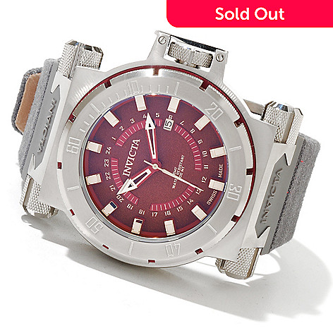 620-426 - Invicta Men's Coalition Forces Swiss Made Quartz GMT Rifle Leather Strap Watch