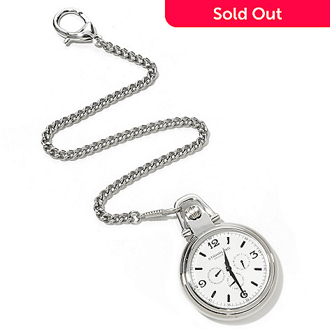 620-431 - Stührling Original Monarch Nouveau Quartz Stainless Steel Pocket Watch