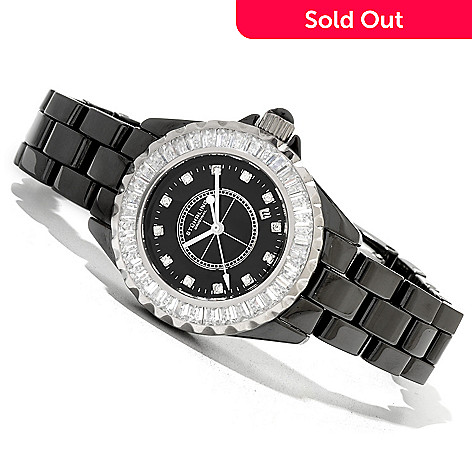 620-432 - Stührling Original Women's Glamour III Quartz Crystal Accented Ceramic Bracelet Watch