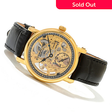 620-434 - Stührling Original Women's Lady Avon Mechanical Skeletonized Leather Strap Watch
