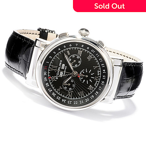 620-439 - Stührling Prestige Men's Sparta Swiss Made Quartz Chronograph Leather Strap Watch