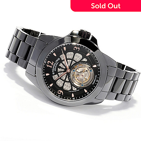 620-443 - Stührling Original Men's Specter Limited Edition Mechanical Tourbillon Ceramic Bracelet Watch