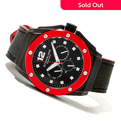 620-445 - Stührling Original Men's Midnight Apocalypse Quartz Multifunction Leather Strap Watch