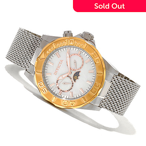 620-468 - Invicta Men's Sea Wizard Quartz Mother-of-Pearl Dial Mesh Bracelet Watch