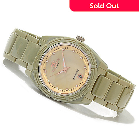 620-480 - Oniss Women's Dream Quartz Crystal Accented Ceramic Bracelet Watch