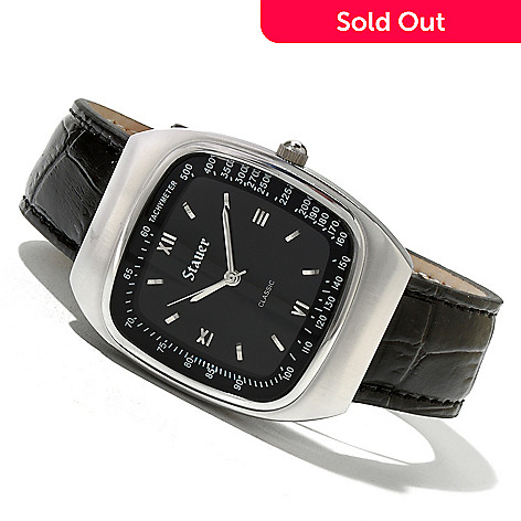 620-492 - Stauer Men's Aero Quartz Leather Strap Watch