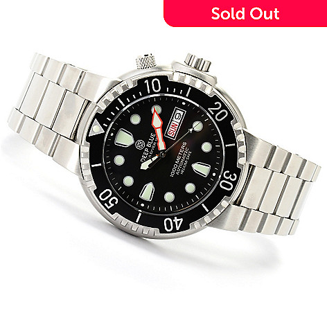 620-655 - Deep Blue Men's Sea Diver 1000 Automatic Stainless Steel Bracelet Watch