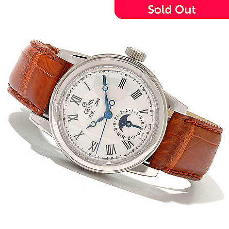 620-699 - Gevril Men's Chelsea Limited Edition Swiss Made Automatic Stainless Steel Leather Strap Watch