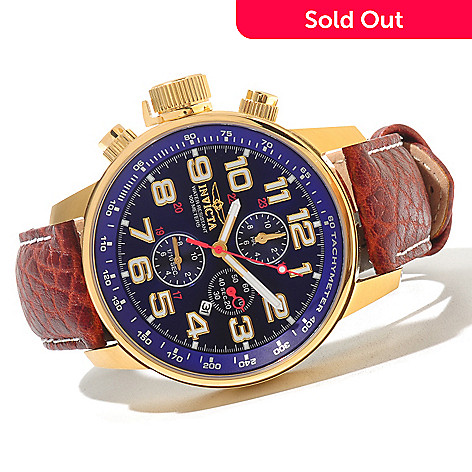 620-731 - Invicta Men's I Force Quartz Chronograph Leather Strap Watch w/ 3-Slot Collector's Box