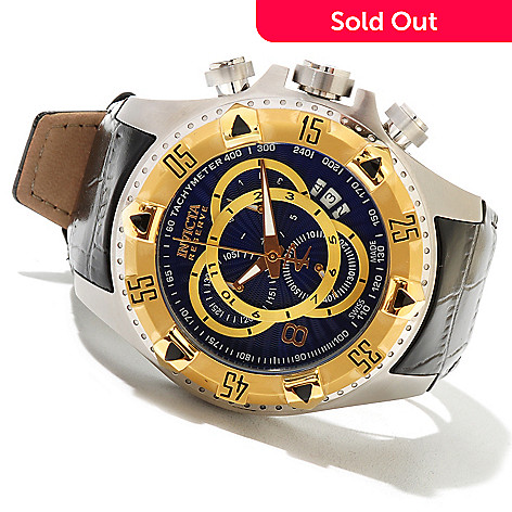 620-739 - Invicta Reserve Men's Excursion Elegant Swiss Made Quartz Chronograph Leather Strap Watch