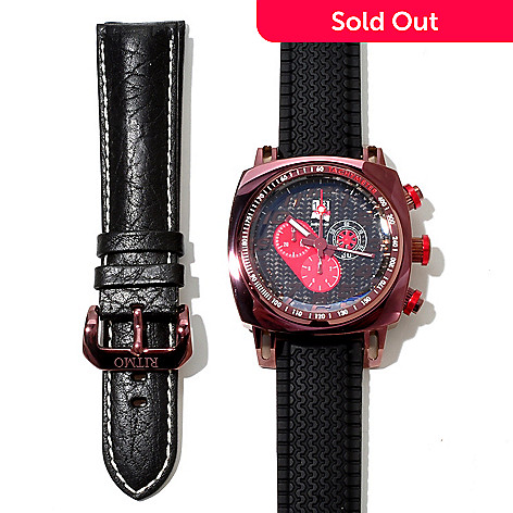 620-755 - Ritmo Mundo Men's Indycar Swiss Made Rubber Strap Watch w/ Interchangeable Leather Strap